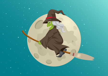 harridan: Cartoon of a witch flying with her broom during full moon, for Halloween theme and concept Illustration