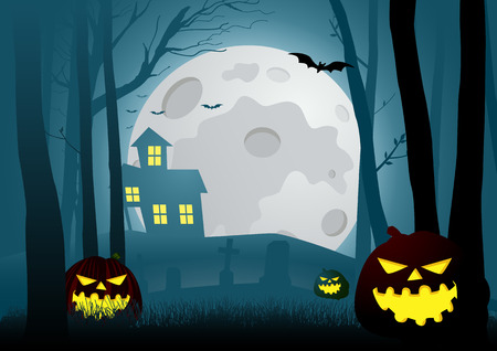 fog forest: Silhouette illustration of a house in the dark scary woods with halloween pumpkins decoration, for Halloween theme or background