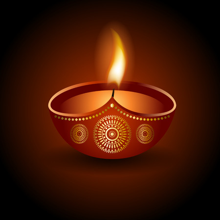 Graphic illustration of burning diya, design ornament and background for Diwali celebration or festival of light