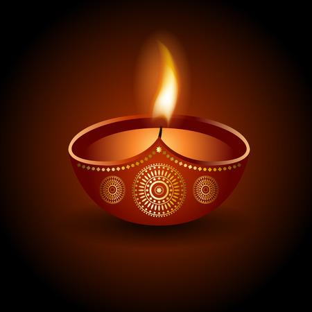 divali: Graphic illustration of burning diya, design ornament and background for Diwali celebration or festival of light