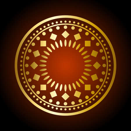 decor graphic: Beautiful gold ornament on dark background