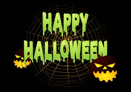 happy web: Slimy Happy Halloween text on spider web with Halloween decoration Illustration