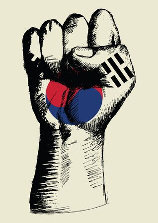 Sketch illustration of a fist with South Korea insignia