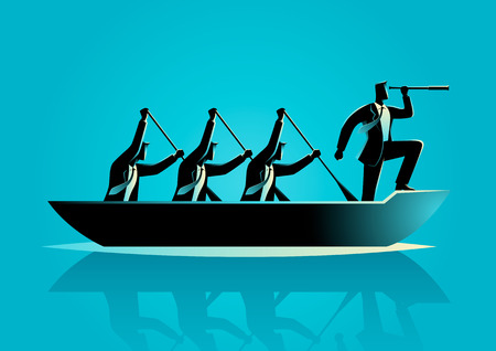 Silhouette illustration of businessmen rowing the boat, teamwork, success, leadership in business concept Ilustração