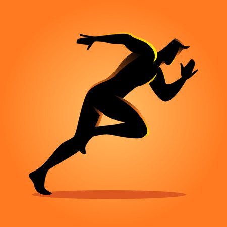 victorious: Silhouette illustration of a sprinter Illustration