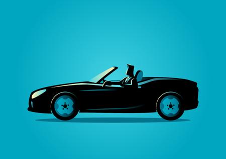 cabrio: Silhouette illustration of a successful businessman driving a convertible car