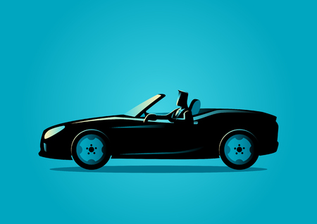 Silhouette illustration of a successful businessman driving a convertible car