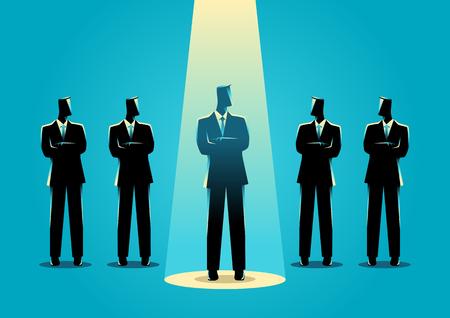 Ilustración de la silueta de un hombre de negocios que se puso de relieve amongs otros hombres de negocios. Se destacan entre la multitud, promoción, elegido, carrera, concepto de negocio Ilustración de vector