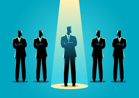 Silhouette illustration of a businessman being spotlighted amongs other businessmen. Stand out from the crowd, promotion, chosen, career, business concept