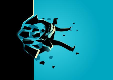 Silhouette Illustration eines Mannes Sprung brechen die Wand. Geschäft, Durchbruch, Erfolg, Herausforderung und Konzept