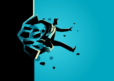business challenge: Silhouette illustration of a man jump breaking the wall. Business, breakthrough, success, challenge concept