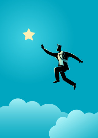 determination: Silhouette illustration of a businessman jumps to reach out for the star, for aspiration, motivation, determination in business concept Illustration