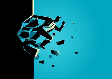 Silhouet illustratie van een zakenman sprong breken van de muur. Bedrijfsleven, doorbraak, succes, uitdaging begrip