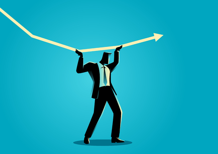 Silhouette illustration of a businessman trying to hold the decreasing graphic chart and make it increase
