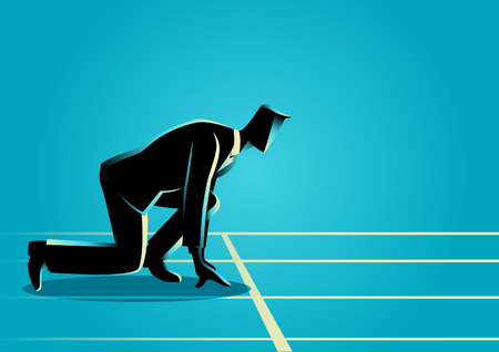 Businessman ready to sprint on starting line. Starting career, business concept Illustration