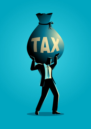 burden: Silhouette illustration of a businessman holding a big money bag with the word tax on it. Heavy, burden, responsibility in business concept Illustration