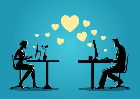 barrera: Ilustración de la silueta de una mujer y un hombre en el chat en línea en el equipo. Para citas en línea, amor virtual, concepto de medios de comunicación social