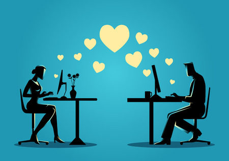 dating: Silhouette illustration of a woman and a man chatting online on the computer. For online dating, virtual love, social media concept