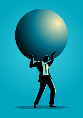 Silhouette illustration of a businessman holding a big sphere. Heavy, burden, responsibility in business concept
