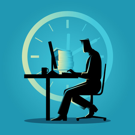 busy person: Silhouette illustration of a man working overtime on the computer