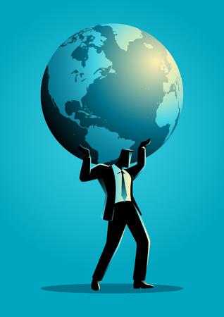 strong foundation: Businessman carrying globe on his shoulder Illustration