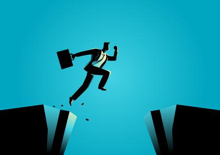 Silhouette illustration d'un homme d'affaires saute par-dessus le ravin. Défi, obstacle, l'optimisme, la détermination dans le concept de l'entreprise Banque d'images - 63394743