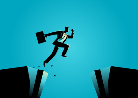 determination: Silhouette illustration of a businessman jumps over the ravine. Challenge, obstacle, optimism, determination in business concept