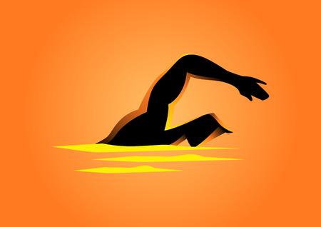 Silhouette illustration of a man figure swimming Illustration
