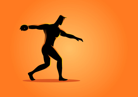 strong men: Silhouette illustration of a discus throw athlete