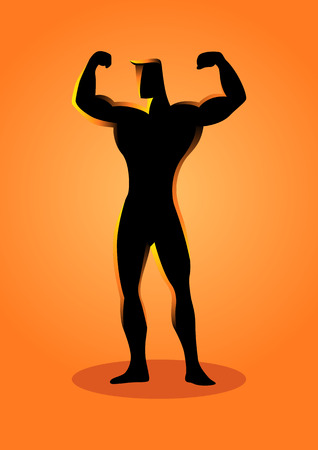 Silhouette illustration of a muscular bodybuilder posing