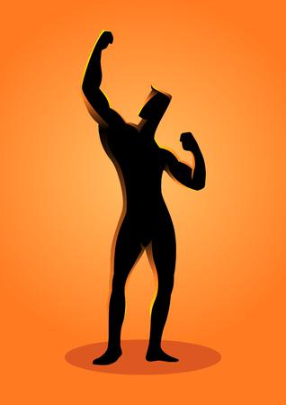 Silhouette illustration of a bodybuilder pose Illustration