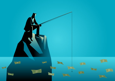 opportunity concept: Concept illustration of a businessman fishing for money. Business opportunity concept