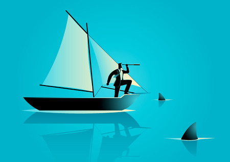 Concept illustration of a businessman on a sailing boat with sharks around him. Risk in business and business challenge concept