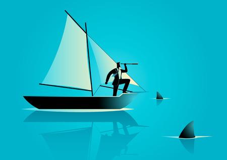 Ilustración del concepto de un hombre de negocios en un barco de vela con los tiburones alrededor de él. Riesgo en concepto de negocio y el reto empresarial