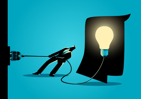 sabotage: Business concept illustration of a businessman trying to unplug the light bulb brain, sabotage, killing creativity concept
