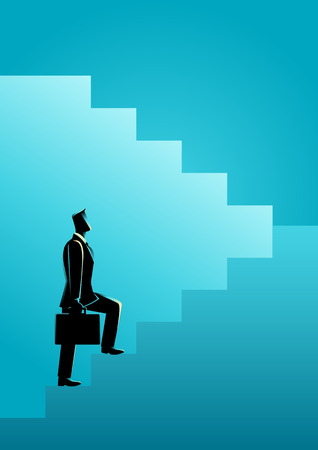 upward climb: Business concept illustration of a businessman stepping on stairs