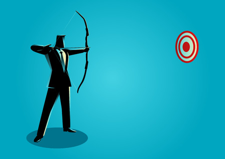 Concept illustration of a businessman as an archer. Business on target
