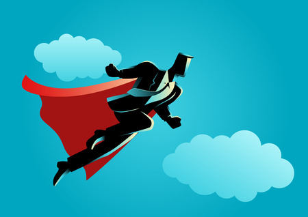 Business concept illustration of super businessman flying on clouds, super worker, success concept Vettoriali