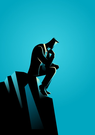 thinker: Business illustration of a businessman thinking on the rock for solution