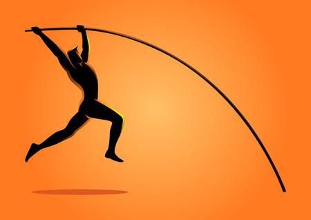 vault gymnastics silhouette. Silhouette Illustration Of A Pole Vault Athlete Gymnastics O
