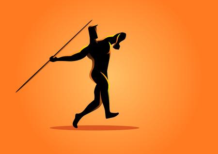 lanzamiento de jabalina: Ilustración de la silueta de un atleta de lanzamiento de jabalina