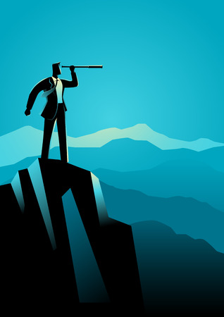 Business concept illustration of businessman using telescope on top of the mountain Vectores