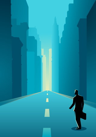 business buildings: Business concept illustration of a man on city street among buildings