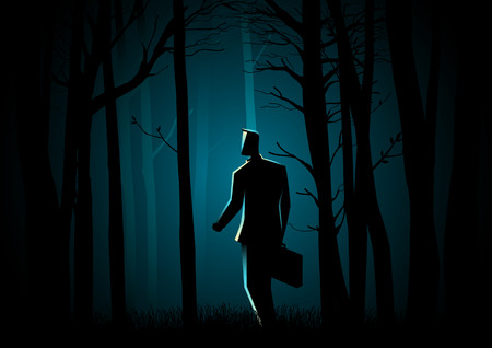doomed: Business concept illustration of a man with suitcase walking in the dark forest
