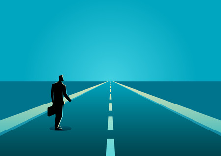 Business concept illustration of a businessman on a long road