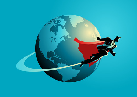 Business concept illustration of a super businessman flying around the world, going global, go international concept