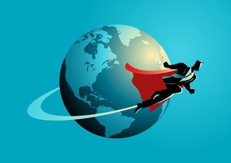 Business-Konzept Illustration eines Supergeschäftsmann auf der ganzen Welt fliegen, going global, gehen internationales Konzept