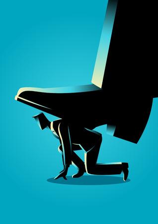 Business concept illustration of giant foot trampling a businessman Illustration