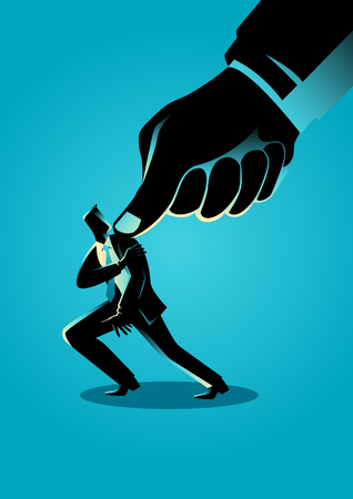 exploit: Business concept illustration of a businessman being pressed by a giant thumb Illustration