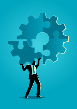 Business concept illustration of a man holding on his shoulder the final peace of puzzle which forming a gear, business, complete, completion, solution concept